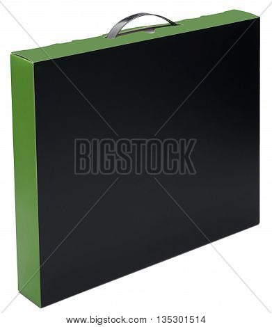Flat black and green cardboard box with handle Isolated on the white background with shadow. In vertical situation.
