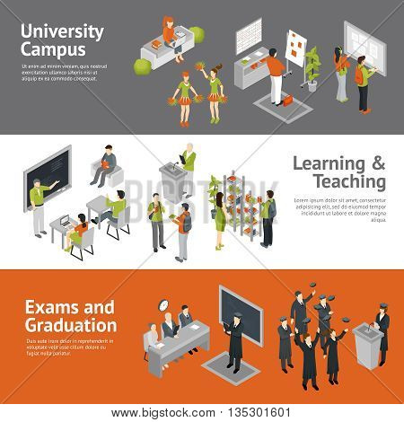 Horizontal college university isometric banners depicting process of learning teaching passing exams and life in campus isolated vector illustration