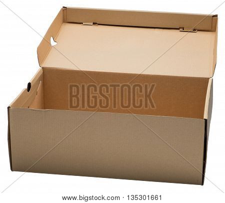 Open cardboard box. Isolated on the white background. No shadow.