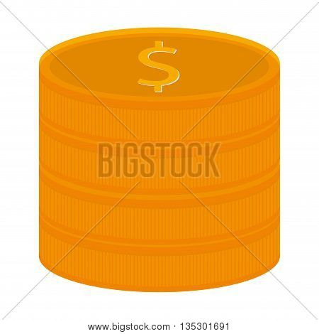 stack yellow coins with dollar sign in the center vector illustration