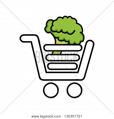 broccoli  in shopping cart isolated icon design, vector illustration  graphic