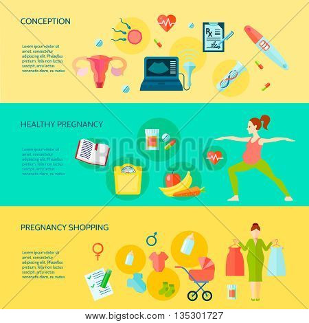 Pregnancy horizontal banners set with pregnancy shopping symbols flat isolated vector illustration