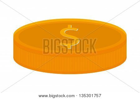 yellow coin with dollar sign lying down vector illustration