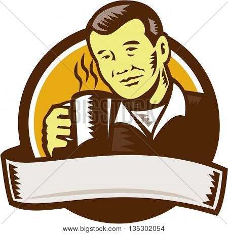 Illustration of an asian man holding cup mug drinking coffee viewed from front set inside circle done in retro woodcut style.