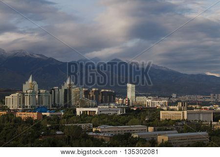View over the city of Almaty in Kazakhstan.