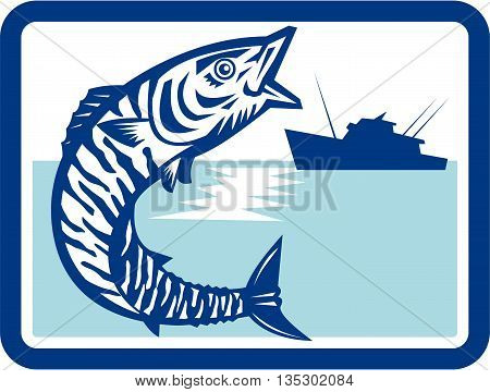 Illustration of a wahoo Acanthocybium solandri a scombrid fish jumping up with sea and fishing boat in the background set inside rectangle shape done in retro style.