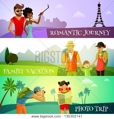 Traveling horizontal cartoon banners set with photo trip and family vacation symbols isolated vector illustration