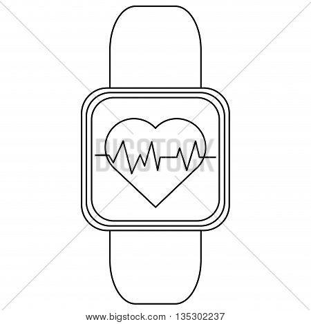 simple black line digital heartbeat tracker wristwatch vector illustration