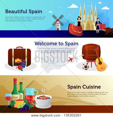 Welcome to spain informative colorful horizontal banners set for travelers with national food and landmarks vector illustration
