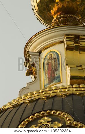 Orthodox temple exterior elements. Fresco on the dome.