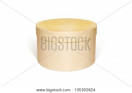 Round blank wooden box mock up isolated. Small wood case design presentation. Clear rounded gift box. Casket hand made storage.
