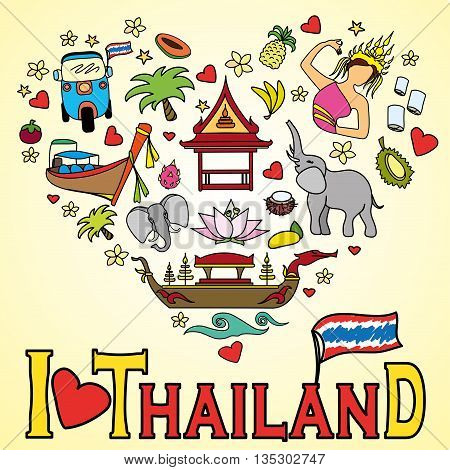 I love Thailand . Set Thai color vector icons and symbols , vector illustration