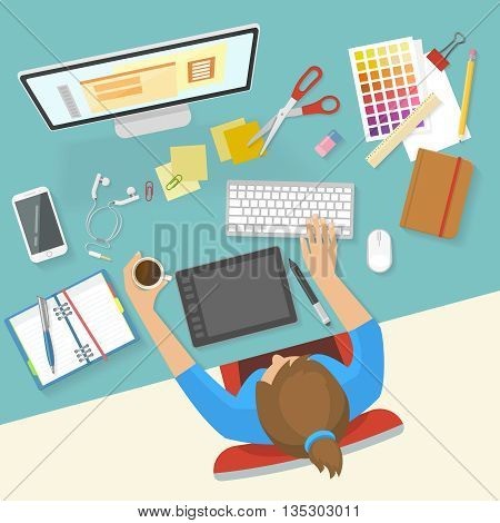 Womans workspace composition girl at the desk with a coffee cup busy working process vector illustration