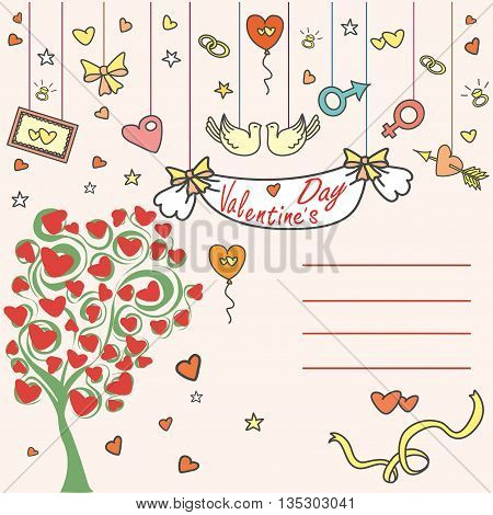 Greeting card, love tree and a place for an inscription, vector illustration