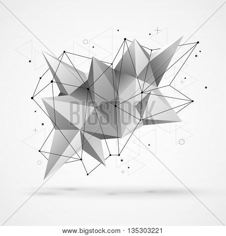 Abstract molecular structure with polygonal shapes and wireframe mesh. Vector illustration. Scientific technology background.