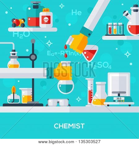 Flat design vector illustration concept of chemist workplace. Hand holding tube, drip in flask. Chemical experiment, reaction.