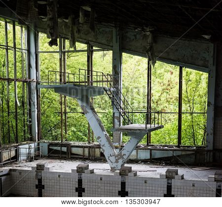 abandoned swimming pool in Pripyat school, Chernobyl, Ukraine