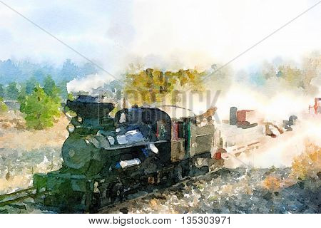 Painting Of a Vintage Train coming through the valley