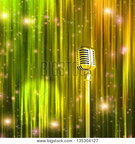 Classic Microphone with Colorful Curtains 3D Render