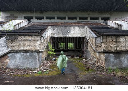 abandoned building with porch in Pripyat, Chernobyl, Ukraine