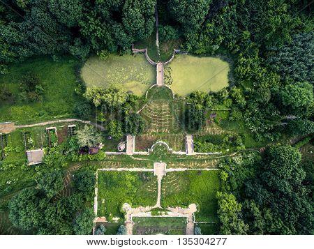 beautiful aerial view on White Swan palace yard in Sharivka park, Kharkiv region, Ukraine