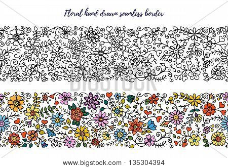 Floral set of horizontal seamless borders for your design. Bouquet of beautiful flowers. Doodle floral patterns. Black and white pattern and colored version.