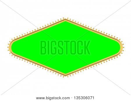 Las Vegas style diamond shape light bulb sign frame isolated with chroma green screen center.