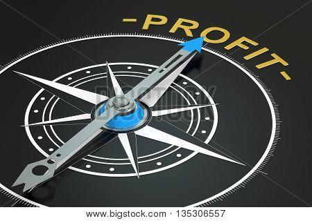 Profit compass concept 3D rendering on black background