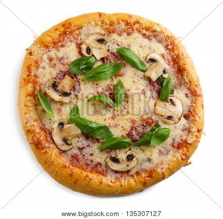 Delicious tasty pizza with vegetables, isolated on white