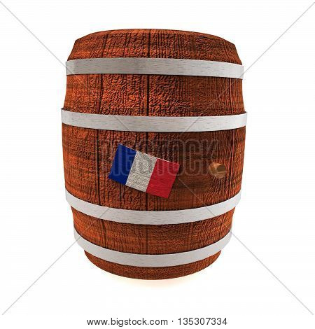 Barrel of wine with France flag isolated over white 3d rendering