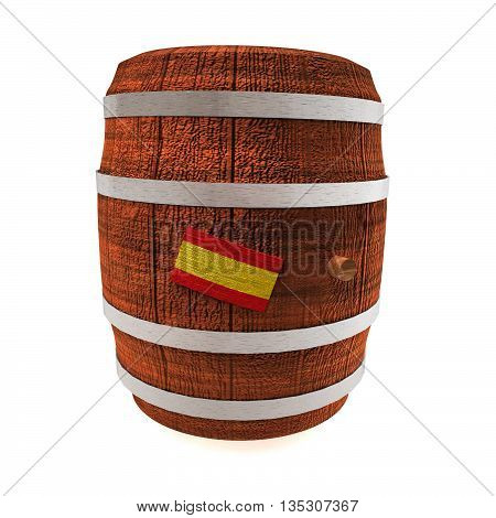 Barrel of wine with Spain flag isolated over white 3d rendering