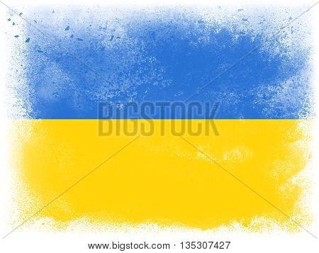 Powder paint exploding in colors of Ukraine flag isolated on white background. Abstract particles explosion of colorful dust.