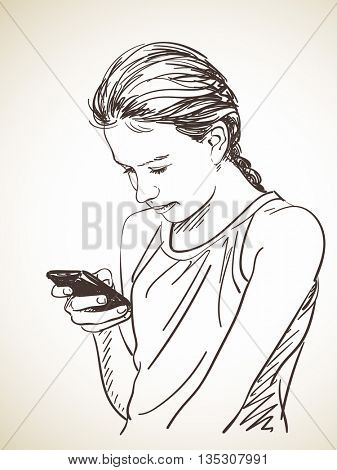 Sketch of teenager girl using smart phone, Hand drawn illustration