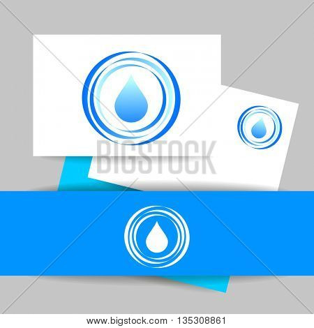 Aqua water drop. Concept identity presentation design for mineral water, eco drink, bio liquid, aqua product and etc. Vector graphic illustration.