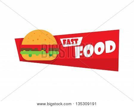 Fast food and burger Design Label or Sticker - Design Template. Vector illustration burger logo.