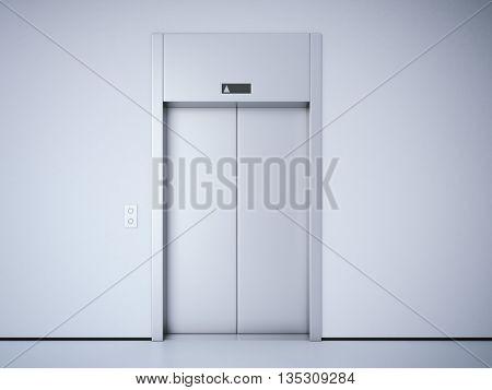 Modern elevator with closed metal  doors. 3d rendering