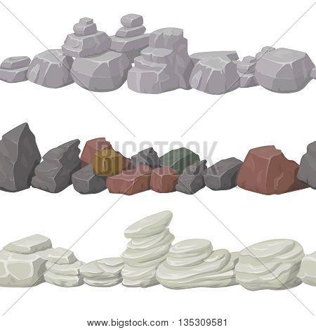 Seamless cartoon stones and bridge for game design. Vector elements. Ui art interface, nature landscape,