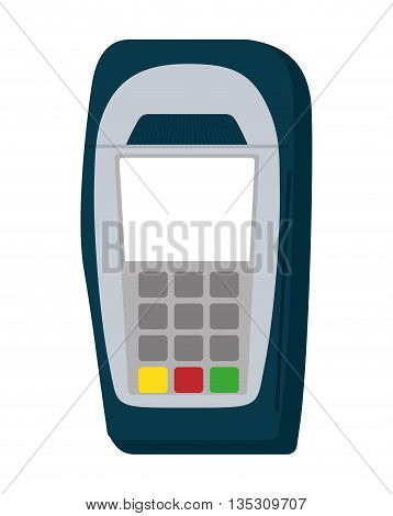 Money and Financial item concept represented by dataphone icon over flat and isolated background