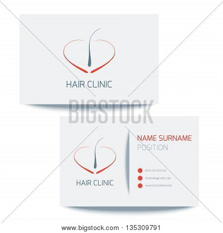 Medical business card logo template with hair follicle icon. Vector hair bulb graphic design for hair clinics and medical centers. Medical card corporate identity. Vector illustration.
