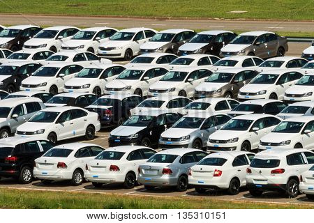 Volkswagen - June 16, 2016: New Cars Parked At Distribution Center, Auto Factory