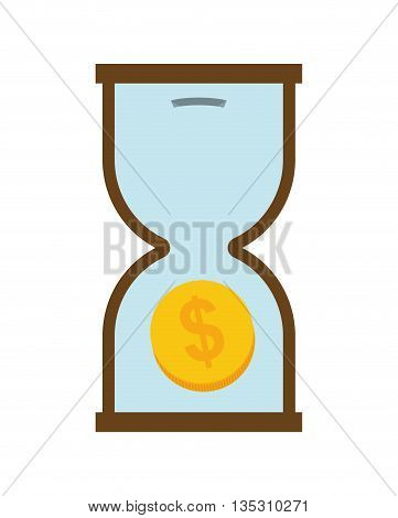 Money and Financial item concept represented by hourglass  icon over flat and isolated background