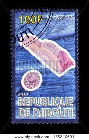 DJIBOUTI - CIRCA 2010 : Cancelled postage stamp printed by Djibouti, that shows Kunzite.