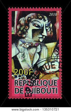 DJIBOUTI - CIRCA 2010 : Cancelled postage stamp printed by Djibouti, that shows painting by Marc Chagall.