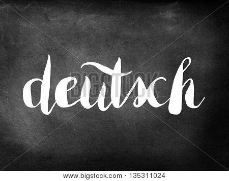 Deutsch written on a chalkboard