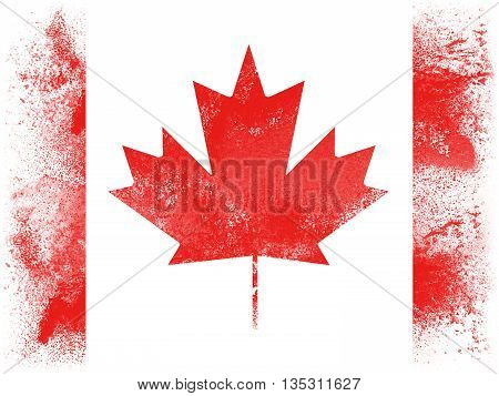 Powder paint exploding in colors of Canada flag isolated on white background. Abstract particles explosion of colorful dust.
