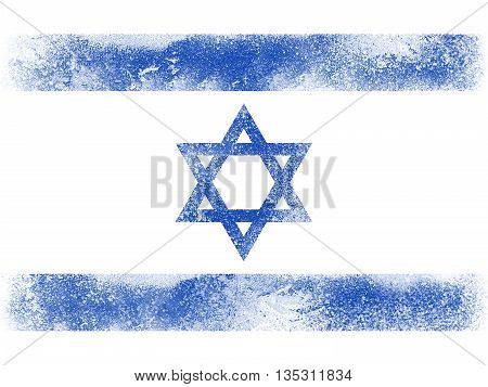 Powder paint exploding in colors of Israel flag isolated on white background. Abstract particles explosion of colorful dust.