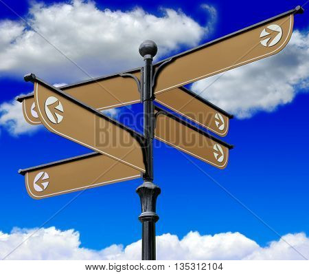 The signpost directions on a background of blue sky and clouds