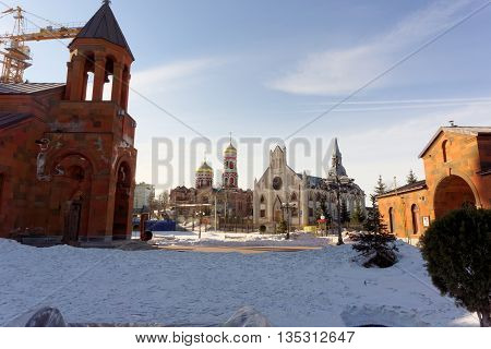 Nizhny Novgorod, Russia. - March 24.2016. Three Christian churches in one place on the street Shevchenko