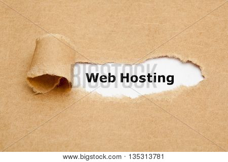 Web Hosting appearing behind ripped brown paper.