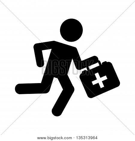 paramedic running isolated icon design, vector illustration  graphic
